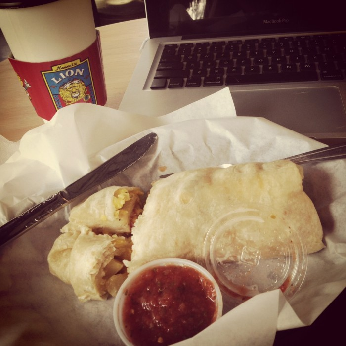 LION Coffee breakfast burrito
