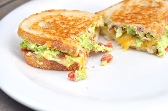 Grilled Cheese with Guacamole and Bacon