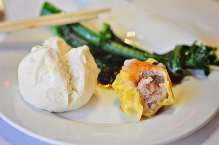 Barbecue pork bun, pork & shrimp dumpling, Chinese broccoli.